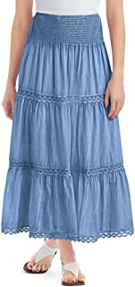 Lace Trimmed Tiered Pull-On Skirt with Wide Elastic Waistband - Stylish Seasonal Skirt for Everyday Wear