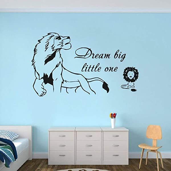 Dream Big Little One Quote Wall Sticker Lion King Wall Decal Simba Baby Wall Mural Vinyl Kids Room Nursery Wall Poster AY1358