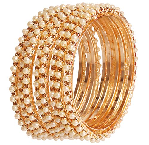 Touchstone New Pearl Bangle Collection Indian Bollywood Exclusive Studded Look Yellow Rhinestone Faux Pearls Designer Jewelry Bangle Bracelets Set of 8 in Antique Gold Tone for Women.