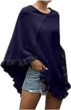 AIEason Women's Sweater Fashion Cloak Shawl Curling Collar Ruffled Hem Solid Color Pullover Top