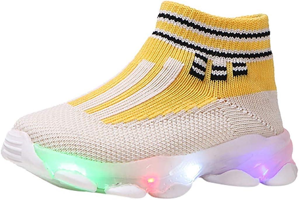 VEKDONE Toddler Boys Girls LED Light Brand new Breathable Regular discount Shoes Knit Up Te