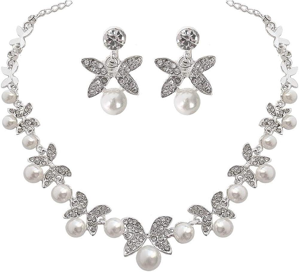 PLMM Collection Butterflies Pearls Rhinestones Embellishments Earrings Necklace Jewelry Set