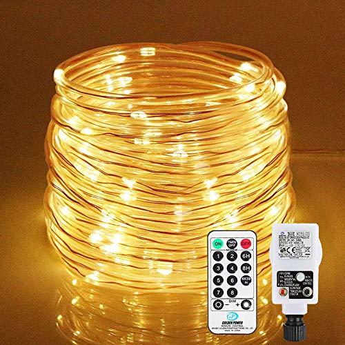 LED Lichtschlauch 200Leds 20Meter Lichterkette mit Fernbedienung Warmweiß 8 Modi IP65 Wasserdicht Weihnachten Deko für Innen Außen Garten Party Hochzeit Weihnachts (LED Lichtschlauch)