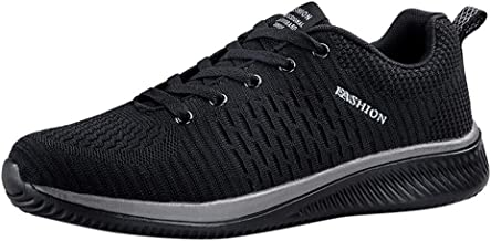 NUWFOR Men's Casual Lightweight Comfortable Breathable Walking Sneakers Running Shoes(Black,8.5 M US)