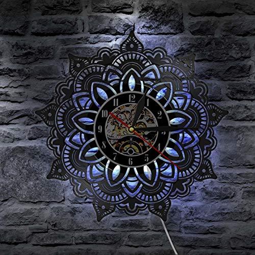 Mandala Seeds Yoga Vinilo CD Disco Reloj de Pared Mandala Flower Artesanía con Corte láser Arte