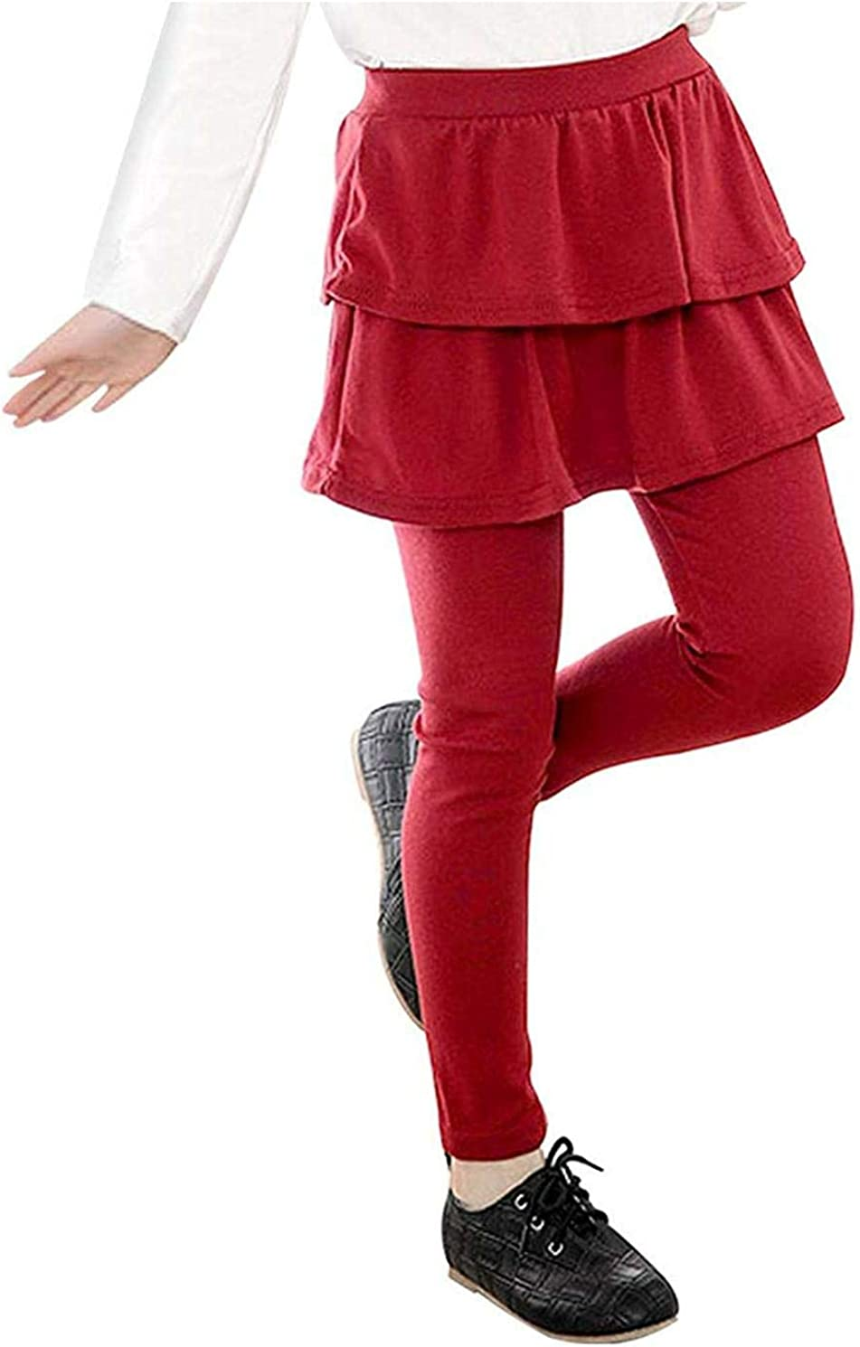 Leggings with Ruffle Tutu Skirt - Stretchy Cotton For Little Girls (3T-7T & 6 Colors)