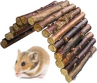 BLSMU Syrian Hamster Toys,Sugar Glider Wooden Bridge,Guinea Pig Chew Toys, Dwarf Hamsters Ladder,Cage Hideout Toys for Hedgehog,Rat,Mouse,Chinchilla,Birds,Snakes, Lizards