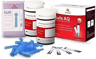 Breathalyzer Tiras de Prueba de glucosa en la diabeta X 50 y Diabetes Lancets x 50, Tiras de Prueba de código Libre de código, Tiras de Prueba de Suger Suger para Safe AQ Smart/Solvice
