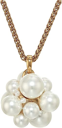 Polished Gold Chain Necklace with Cluster White Pearl Pendant