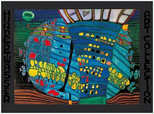 Bild mit Rahmen Friedensreich Hundertwasser - DER BLAUE MOND - Alimunium silber matt, 67 x 48cm - Premiumqualität - , Klassische Moderne, Abstrakt, Landschaft, Bäume, Turm, Kugel, geometrische Muster, abst.. - MADE IN GERMANY - ART-GALERIE-SHOPde