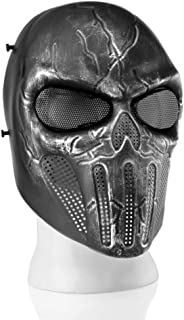 Flexzion Airsoft Paintball Mask Full Face Skull Skeleton Metal Mesh Eye BB Field Protection Safety Guard Cosplay Revenger for Outdoor Activity Hunting Wargame Cosplay