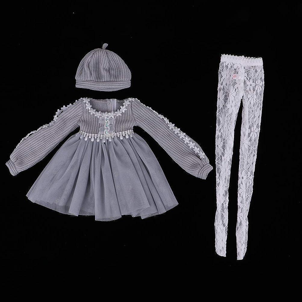 侮辱回る巻き戻す1/3スケール BJDドール用 人形スカート セータードレス ハット ドール服セット グレー