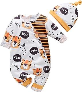 0-12 Meses,SO-buts Recién Nacido Infantil Bebé Niños Niñas Manga Larga Estampado Animal Mono Mameluco Sombrero Conjuntos P...