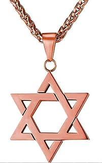 Reizteko Jewish Jewelry Megan Star of David Pendant Necklace Women Men Chain Stainless Steel Israel Necklace (Rose Gold)