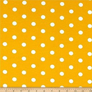 Fabric Merchants Cotton Spandex Jersey Knit Polka Dot Mustard/Ivory Fabric by the Yard
