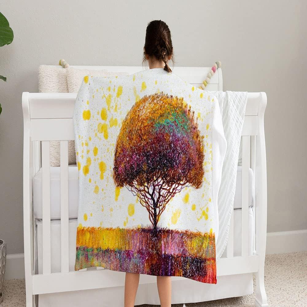 LPVLUX Max 66% OFF Oil Painting Landscape Super-cheap Colorful Blanket Hand Tree Super