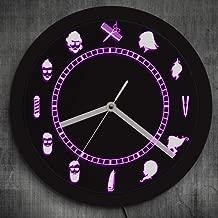 Peluquería diseño retro iluminación reloj de pared peluquería salón de belleza ambiente reloj iluminado LED retroiluminado logotipo de empresa