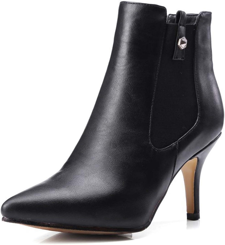 DANDANJIE Frauen High Heel Schuhe wies Toe Pfennigabsatz Stiefeletten Sring & Fall Schuhe für 2019,A,36EU