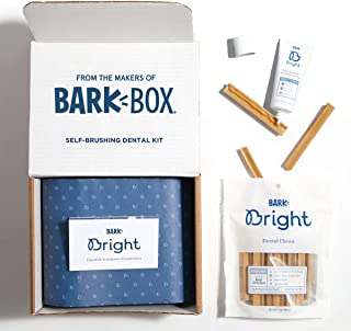 BarkBox Bright Toothpaste & Toothbrush Chews Kit - Dental Treats for Dogs and Cats | Vet-Recommended | Freshens Breath & Reduces Plaque Buildup | Made with Real Chicken | Medium/Large Kit