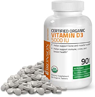 Vitamin D3 5000 IU Certified Organic Vitamin D Supplement, Non-GMO, USDA Certified, 90 Tablets