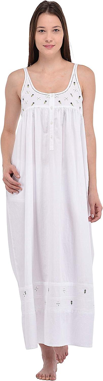 Cotton Lane Sleeveless Pure Cotton White Cotton Nightdress