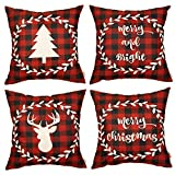 Fjfz Set of 4 Christmas Farmhouse Decorative Throw Pillow Cover 4PCS Red Buffalo Check Plaid Deer Tree Sign Winter Holiday Decoration Merry & Bright Home Décor Cotton Linen Cushion Case Sofa 18' x 18'