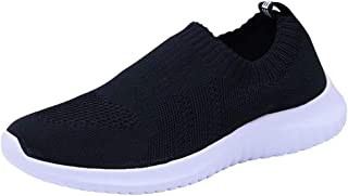 Men's Athletic Walking Shoes - Lightweight Casual Knit Slip on Sneakers
