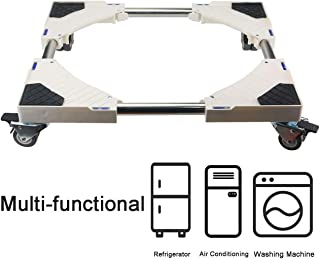 Ogrmar Adjustable Multifunctional Movable Base/Universal Machine Carriage/Telescopic Furniture Dolly Roller with 8 Locking Rubber Swivel Wheels for Dryer Washing Machine and Refrigerator