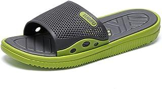 Men's Shoes-Men's Pool Slides Shoes Flat Heel Slipper Up to Size 45EU Quality (Color : Green, Size : 44 EU)