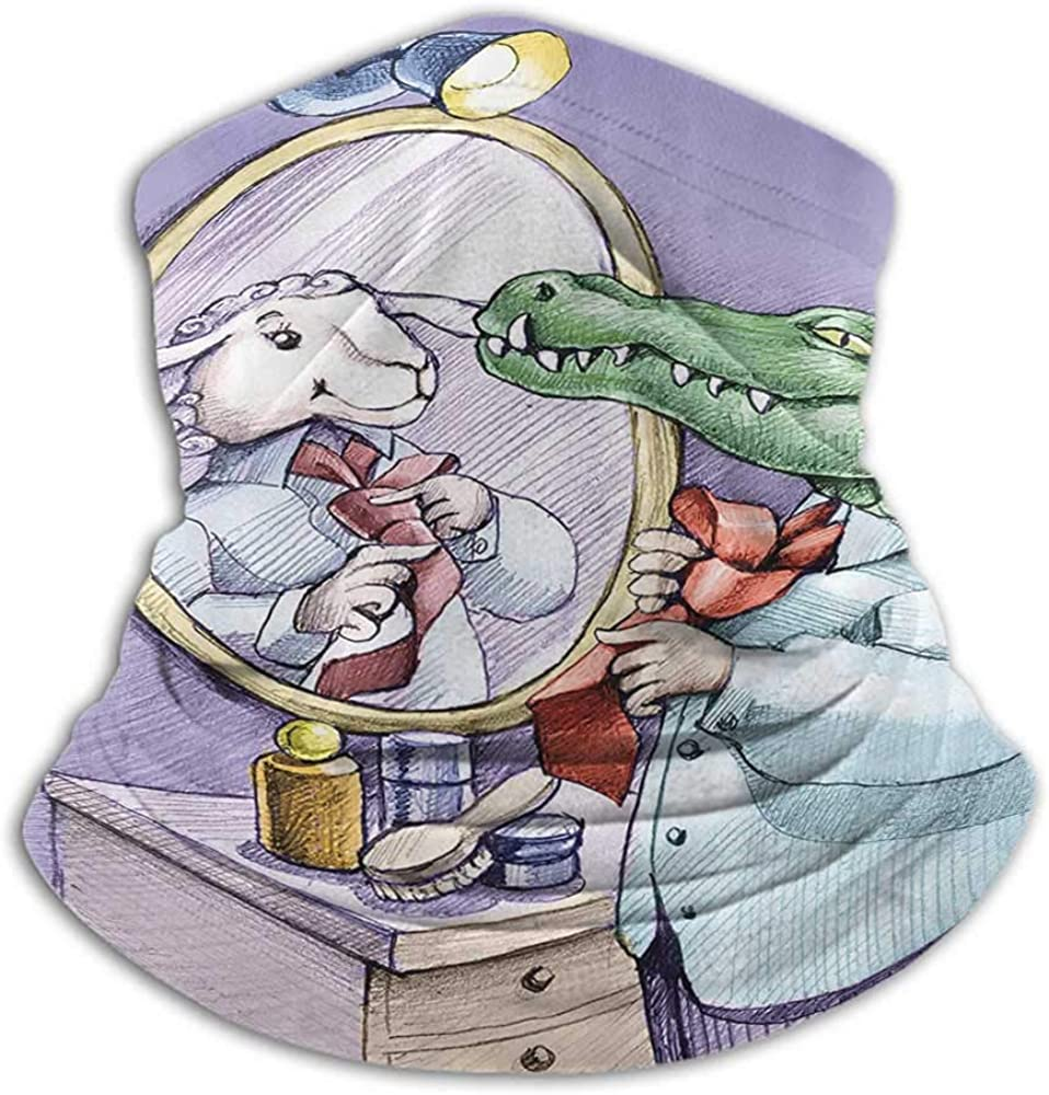 Neck Gaiter Cartoon Decor Collection Ski Tube Scarf A Crocodile Knotting His Tie Looks in the Mirror and Sees Himself As Sheep Fun Cartoon Puple Green