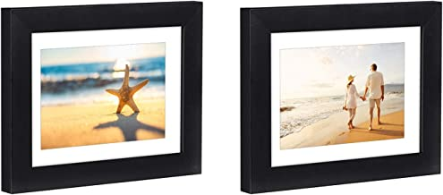 Americanflat 2 Pack - 5x7 Black Tabletop Frames - Display Pictures 4x6 with Mat - Display Pictures 5x7 Without Mat - Glass Fronts, Easel Stands, Ready to Display on Tabletop
