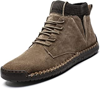 Bin Zhang Combat Boot for Men High Top Boots Lace Up Suede Anti Slip Soft Knit Sock Shoes Stitching Warmth Outdoor Flats (Fleece Inside Option) (Color : Khaki, Size : 5.5 UK)