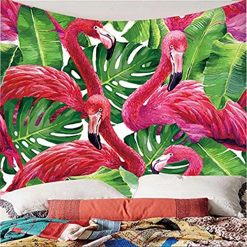 Weibing Tapiz de impresión en Color 3D, Plantas Verdes de Estilo nórdico y patrón de Flamenco, decoración Colgante de Pared para Dormitorio, Sala de Estar 350(An) x256(H) cm