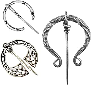 Idealcoldbrew 3 Pack Vintage Viking Brooches Pins, Women Girls Scarf Cloak Shawl Buckle Clasp Pin Brooch, Decorative Clothes Costume Accessories Fashion Jewelry for Valentine's Day, Antique Silver