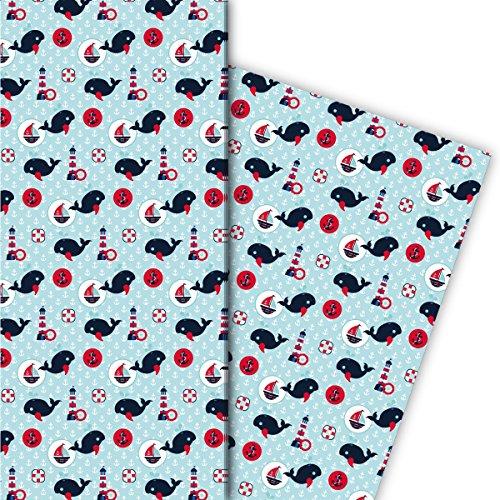 Kartenkaufrausch Maritimes Geschenkpapier Set mit Walen, Schiffen und Ankern als edle Geschenk Verpackung, Designpapier, scrapbooking, 4 Bogen, 32 x 48cm, hellblau