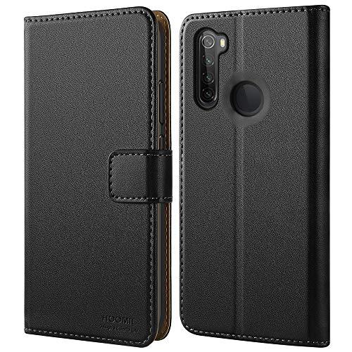HOOMIL Handyhülle für Xiaomi Redmi Note 8 Hülle, Premium PU Leder Flip Schutzhülle für Xiaomi Redmi Note 8 Tasche, Schwarz