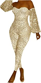 Remanlly Women Sexy Sequins Jumpsuit Lantern Sleeve Off Shoulder Jumpsuit Playsuit Romper