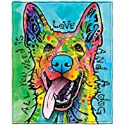 Dawhud Direct Dean Russo Love and a Dog German Shepherd Super Soft Plush Fleece Throw Blanket