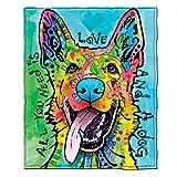Dawhud Direct Dean Russo Love and a Dog German Shepherd Super Soft Plush Fleece Throw Blanket