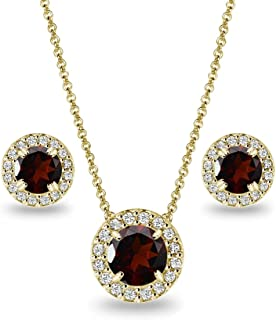 Gold Flashed Sterling Silver Genuine, Created or Simulated Gemstone Round Halo Necklace & Stud Earrings Set with CZ Accents