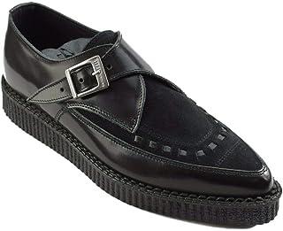 Zapatos de tierra de acero cuero negro Suede Point Creepers Monje Hebilla puntiaguda