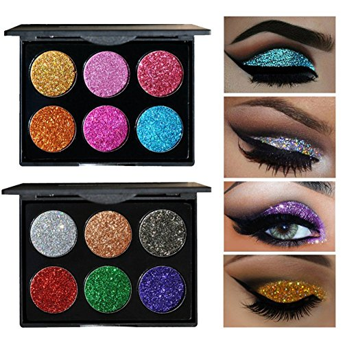 6 Colors Glitter Eye Shadow Brighten Palette Flash Shimmer Natural Glitter Fix Gel Cosmetic Makeup Body Face Nails Hair Decoration Pigment Make Up Pallet for Festival Christmas (#A)
