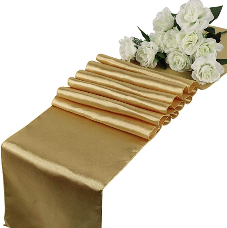 Mds Pack Of 10 Wedding 12 X 108 Inch Satin Table Runner For Wedding Banquet Decoration Gold