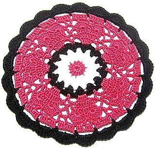 Posavasos redondo fucsia, blanco y negro de ganchillo - Tamaño: ø 14 cm - Handmade - ITALY