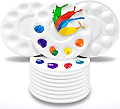 Jespekerere 10 PCS Paint palettes Round Write Plastic with 10 Wells Painting Tools for Kids Adults Artists