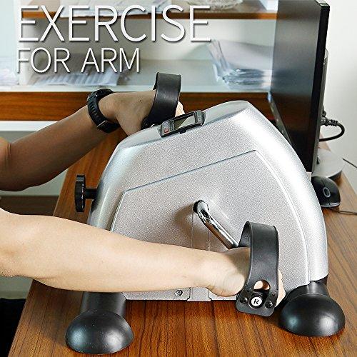 Mini Velo Pédalier Appartement Appareil Musculation Fitness Cardio Sport Homme Femme Accessoire Entrainement Entraîner Les Bras Jambes Reprendre de l'exercice Écran LCD Argent