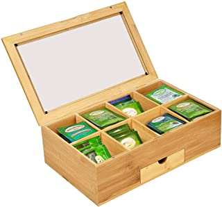 Iusun Bamboo Tea Box Organizer Chest 8 Compartments With Small Drawer Tea Bag Classic Teabag Holder Variety Box Storage Sections 13X8X4'' - Ship From USA (A)