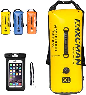 XCMAN Waterproof Sack Dry Bag Bonus for Boating, Camping and Kayaking - Dry Sack Waterproof 30L - with Air Valve and Double Shoulder Straps
