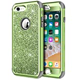 Hython Designed for iPhone 8, iPhone 7 Case, Heavy Duty Full-Body Defender Protective Case Bling Glitter Sparkle Hard Shell Hybrid Shockproof Rubber Bumper Cover for iPhone 7 and iPhone 8, Green