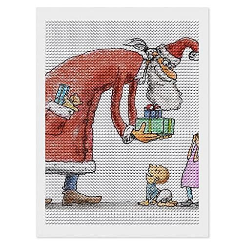 Kit de pintura de diamante 5D para adultos y niños, para decoración de pared, manualidades, lienzo de Papá Noel, regalo de dibujos animados, 12 × 16 pulgadas